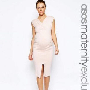 NWT ASOS Maternity Blush Pink Front Slit Dress 4